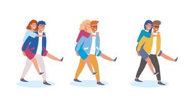 Conjunto de homens carregando mulheres nas costas