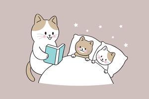 mãe gato livro de leitura bebê gato vetor
