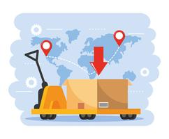 Carrinho de mão com caixas com mapa global