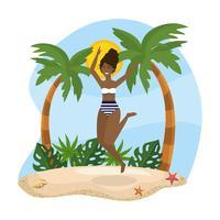 Jovem mulher pulando perto de palmeiras na areia vetor