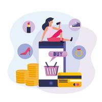 Mulher com smartphone e compras on-line com cartão de crédito vetor