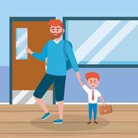 Pai e filho de cabelos vermelhos na escola