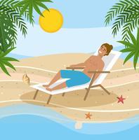 Homem sentado na cadeira de praia pelo oceano
