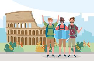 Turistas masculinos na frente do Coliseu vetor