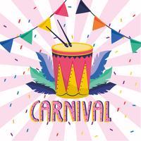Cartaz de carnaval com tambor e banner
