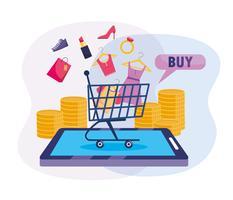 Carrinho de compras com mercadorias no smartphone vetor