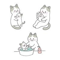 chuveiro do gato da mãe e do bebê vetor