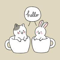 Gato bonito dos desenhos animados e coelho na xícara de café vetor