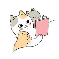 Mãe gato lendo para bebê gato vetor