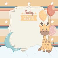 Cartão de chuveiro de bebê com girafa e lua