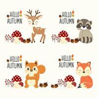 Olá conjunto de animais da floresta de outono