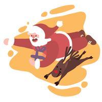 Papai Noel voando com Rudolph o raindeer nariz vermelho para entregar presentes