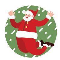 Excitação de Papai Noel pulando fundo nevado