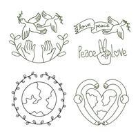 conjunto de design de logotipo de paz e amor