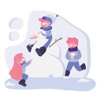 crianças brincando na neve com boneco de neve vetor