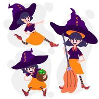 Conjunto de ação de bruxa de Halloween vetor