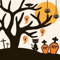 Fundo de noite de Halloween com gato preto, árvore, aranha, abóbora e morcego.