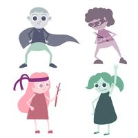 conjunto de desenhos animados de super herói crianças vetor