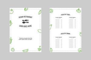Modelo de menu simples restaurante vegano minimalista vetor