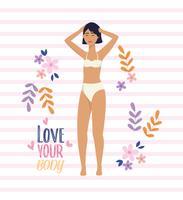 Jovem mulher em roupa íntima com amor sua mensagem do corpo