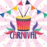 Cartaz de carnaval com banner e tambor