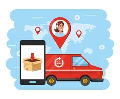 Furgão com smartphone e agente de call center vetor