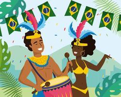 Músico e dançarino de carnaval masculino e feminino com banner da bandeira brasileira vetor