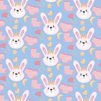 Fundo de presente de chuveiro de bebê sem costura com coelhos cor de rosa e meias vetor