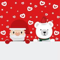 Papai Noel e urso com fundo vermelho