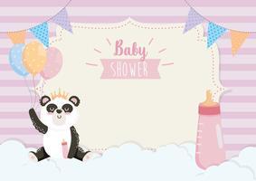 Cartão de chuveiro de bebê com panda com garrafa vetor