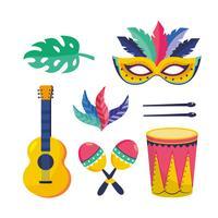 Conjunto de objetos decorativos de carnaval