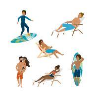 Conjunto de homens e mulheres surfando e sentado na cadeira de praia