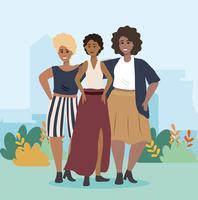 Grupo de mulheres afro-americanas no parque vetor
