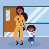 Mulher afro-americana e filha na escola vetor