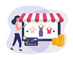 Mulher com smartphone com tablet compras online e cartão de crédito vetor