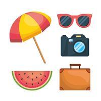 Conjunto de objetos de férias vetor