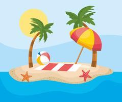 Toalha e guarda-chuva na areia na ilha vetor