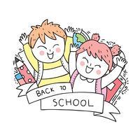 volta para escola menino e menina vetor