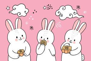 meados de outono coelho comendo