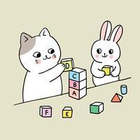 gato e coelho brincando vetor