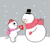 gato dando um presente para boneco de neve vetor