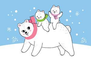mãe inverno e bebê urso polar vetor