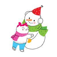 gato e boneco de neve abraçando