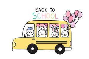 volta para animais escolares e ônibus escolar vetor