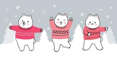 ursos de inverno dançando vetor