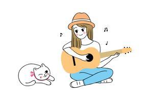 mulher tocando violão e gato vetor