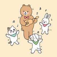 de volta aos animais da escola na aula de música vetor
