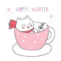 Gato feliz do inverno na caneca vetor