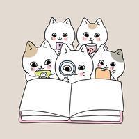 de volta à escola gatos lendo livro vetor