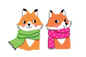 raposas de inverno em lenços vetor
